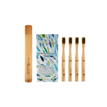 Biodegradable Natural Kids Bamboo Toothbrush BPA free Bristles plus Bamboo holder FOUR